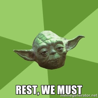 """Star Wars Yoda says """"Rest, We Must"""" after running."""
