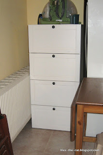chest of drawers used for recycling storage