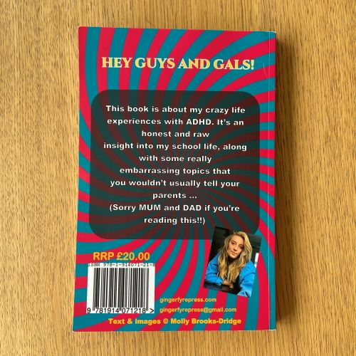 Back cover of me myself and adhd - blue and pink stripes with photo of blonde haired Molly