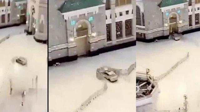 Astagfirullah! Mobil Berkecepatan Tinggi Tabrak Pintu Masjidil Haram Mekkah, Lihat Videonya