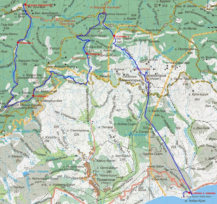 Карта маршрута Красносёловка – Зеленогорье – Чобан-Куле