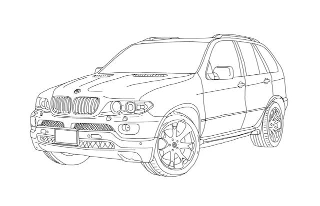 How to draw BMW X5 (E53) Step by Step