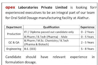 Apex Laboratories Pvt Ltd ITI/Diploma/B.Pharm /B.Tech Job Openings for Freshers and Experienced in Production QC QA Departments.
