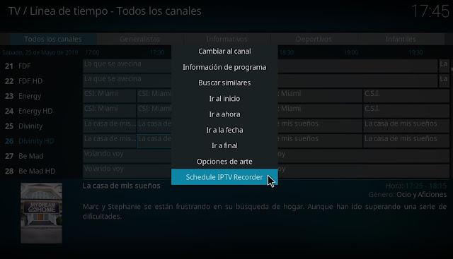 Kodi grabar de listas iptv