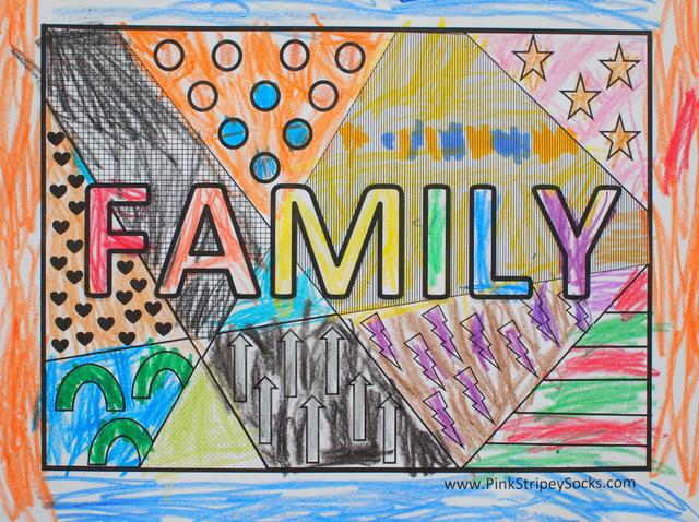 Family Pop Art Coloring Page Pink Stripey Socks