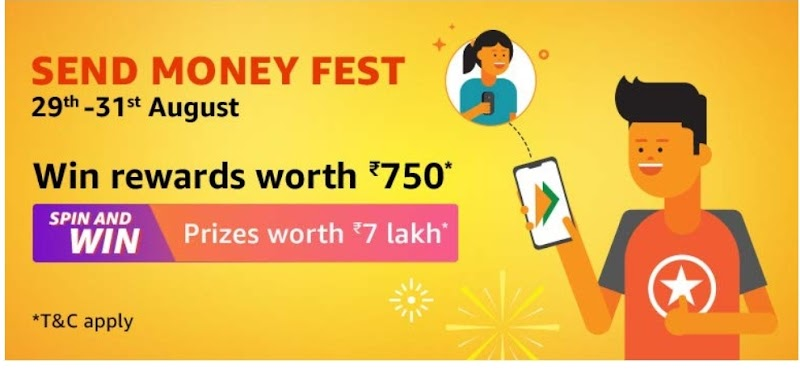 Amazon Send Money Fest – Get ₹750 Cashback FREE