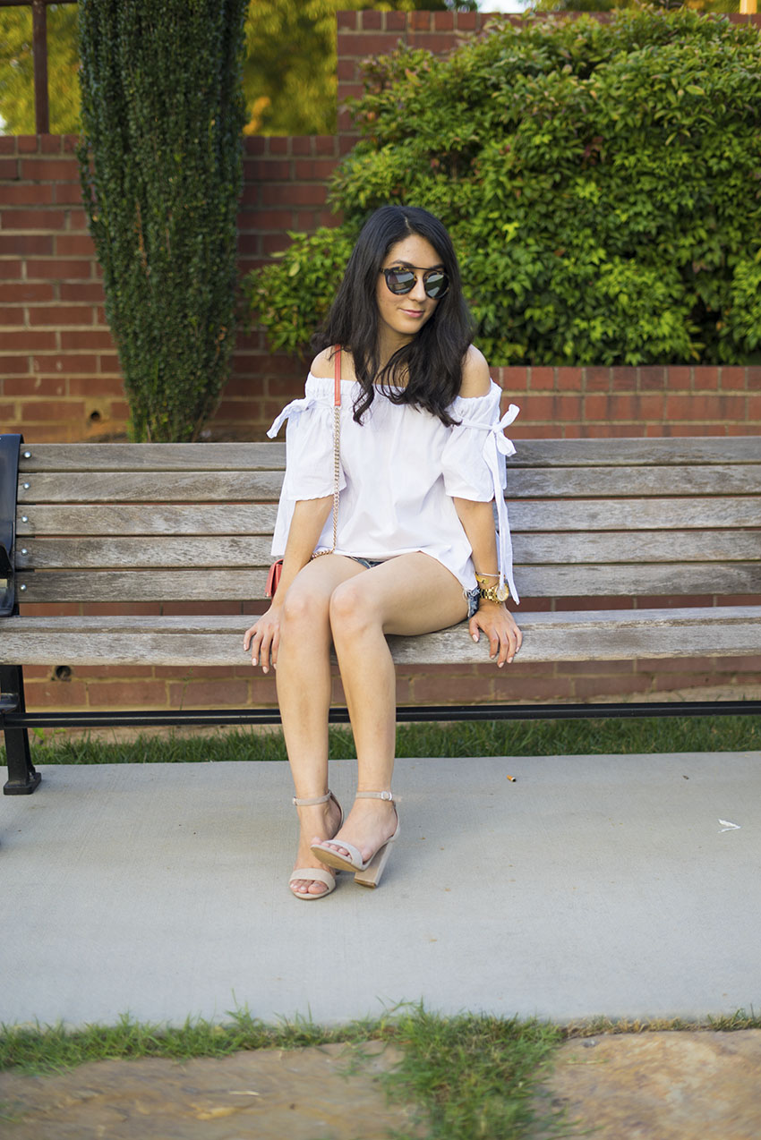 off the shoulder tie sleeve blouse, off the shoulder white bow blouse, denim shorts, steve madden carrson block heel sandals, westward leaning flower sunglasses, pieces of me cuff bracelet