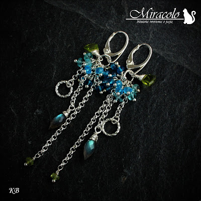 Miracolo, topaz swiss blue, topaz london blue, apatyt, labradoryt, peridot,  blue topaz earrings