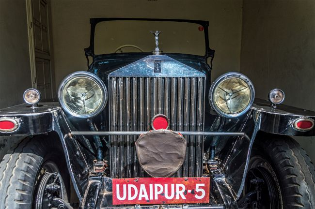 A Rolls Royce on display at Vintage car museum