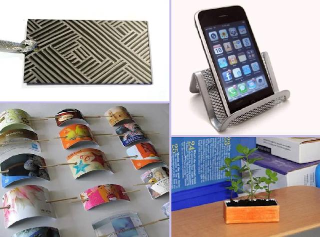 cartão de identificação, suporte para celular, presilha de cabelo, minivaso.