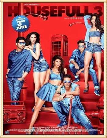 Poster Of Housefull 3 2016 Hindi 550MB BRRip 720p ESubs HEVC Watch Online Free Download downloadhub.net