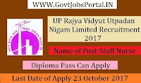 UP Rajya Vidyut Utpadan Nigam Limited Recruitment 2017- Staff Nurse