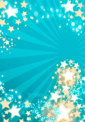 Tarjeta de invitación para 15 años turquesa con estrellas doradas