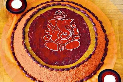 Latest and Small Ganpati rangoli Design