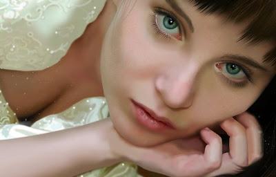 Retrato de mujer bonita con ojos verdes