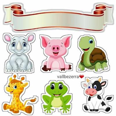 Animales Bebés: Toppers para Tartas, Tortas, Pasteles, Bizcochos o Cakes para Imprimir Gratis.