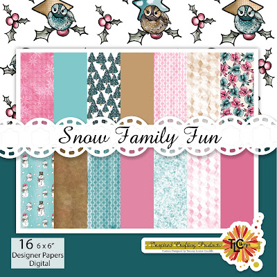 It's a graphic design genius!  This Snow Family Fun digital paper pack has all of the trending holiday colors with delightful coordinated graphics to go with the Snow Family Fun digit stamp sets available at TLCDesigns.shop