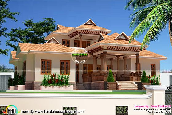 2325 Sqft Kerala Traditional Design 4 bedroom room villa
