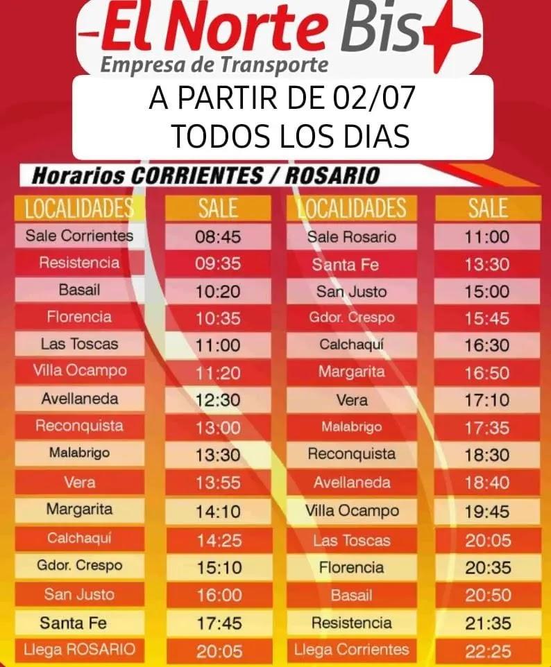 Horarios Corrientes - Rosario
