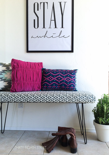 before and after modern furniture makeovers, modern design, midcentury design, spoon flower tribal fabric, how to reupholster a bench