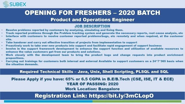 SUBEX Openings for B.E / B.Tech (CSE, ISE, IT & ECE) Freshers - Product & Operation Engineer