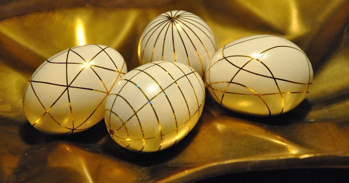 Ostereier DIY mit goldenen Zierstreifen  Meiliese