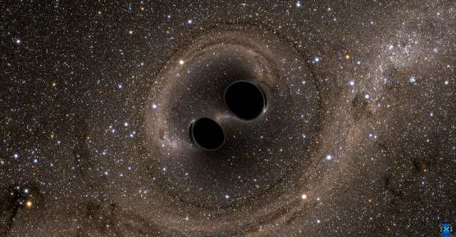 A simulated picture of two merging black holes, each about 30 solar masses. This is approximately what a human would see if they could travel in spaceship to take a closer look at merging black holes. Credit: SXS, the Simulating eXtreme Spacetimes (SXS) project (http://www.black-holes.org)