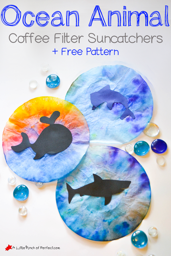 Ocean Animal Coffee Filter Suncatcher Craft For Kids Pattern