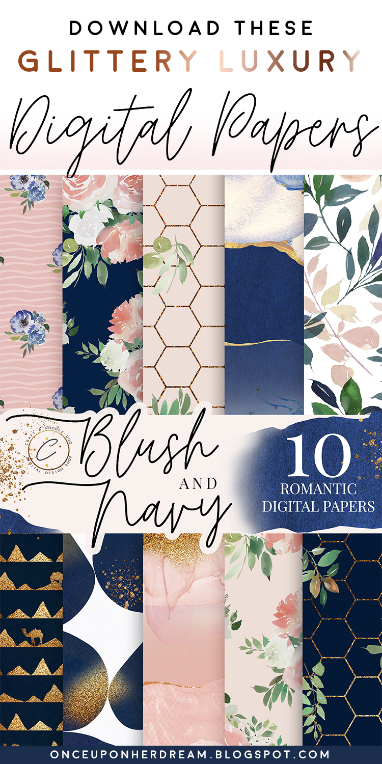 Blush & Navy theme free digital papers by Craft A Doodle Doo for scrapbooking, crafting, DIY and decorating projects. With watercolor florals, gold and glitter accents #digitalpaperpack #navyandblush #watercolorfloralpaper #scrapbookpaper