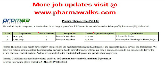 Promea Therapeutics Pvt. Ltd urgent openings for FR&D / AR&D