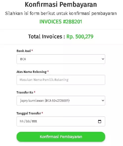 Form Konfirmasi Pembayaran