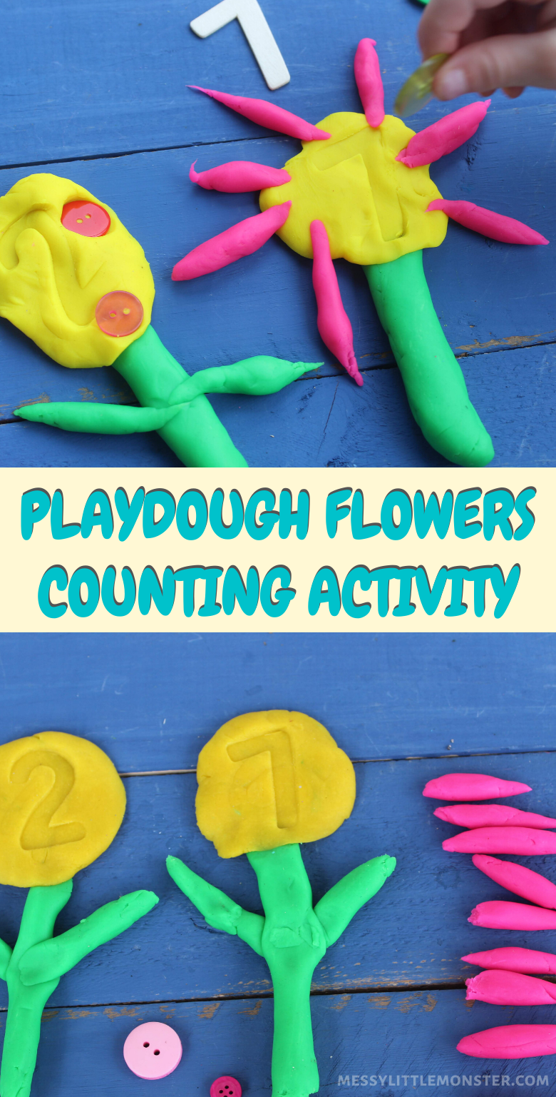 Playdough flowers counting activity for toddlers and preschoolers.