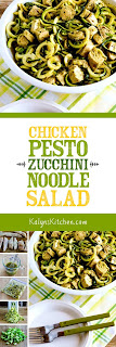 Chicken Pesto Zucchini Noodle Salad  found on KalynsKitchen.com