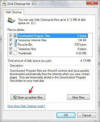 membersihkan temporary file melalui disk cleanup