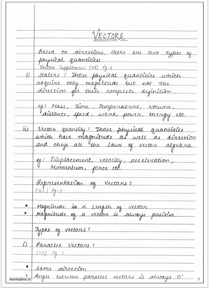 Vector Handwritten Notes Class 11 Download PDF