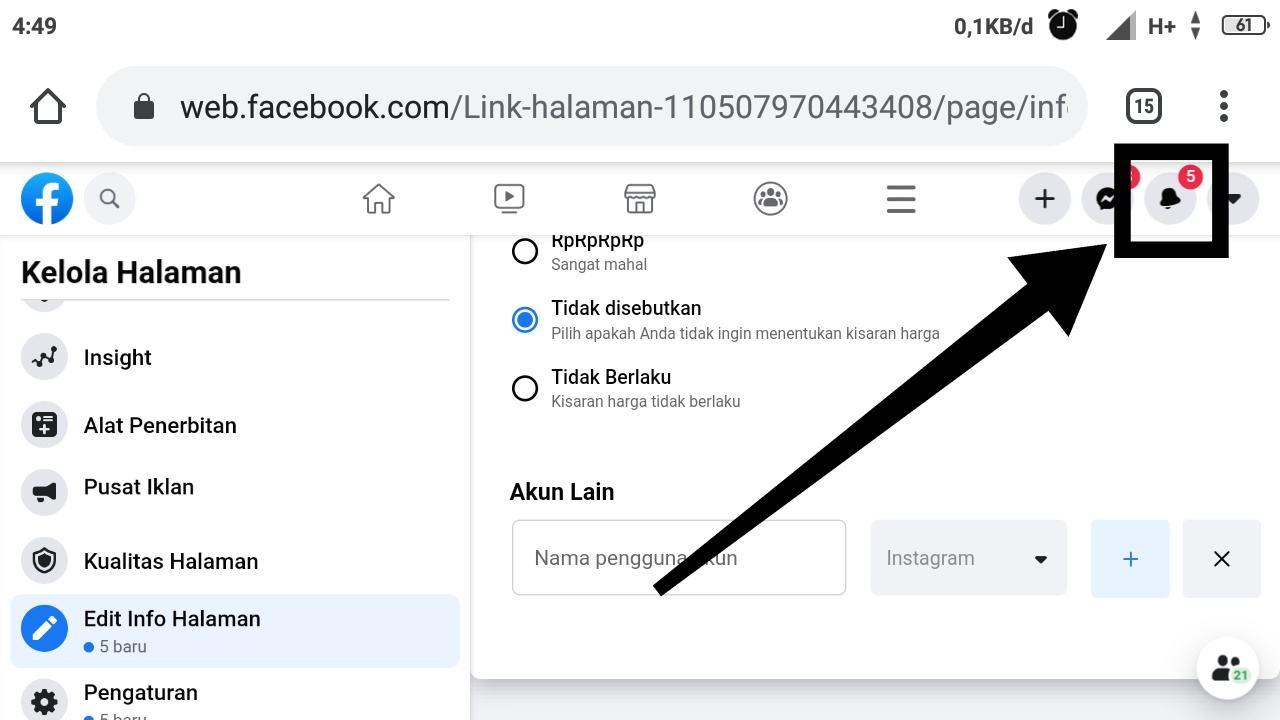Banding nama halaman Facebook