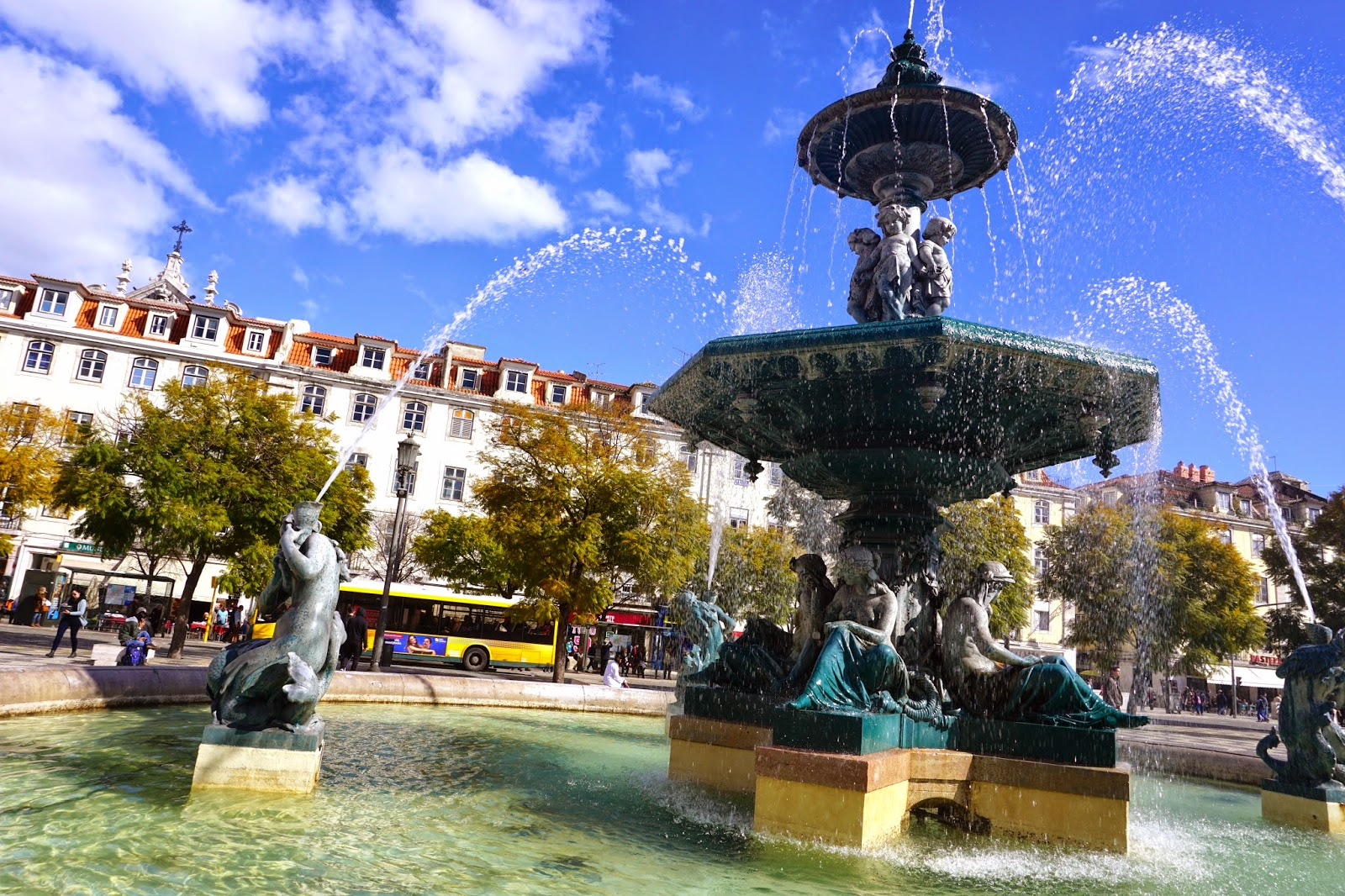 The water fountain at Rossio Square in Lisbon