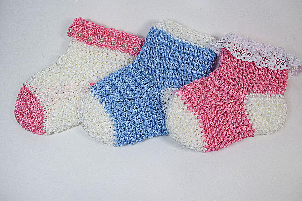 How Yo Make Crochet Baby Socks Pattern