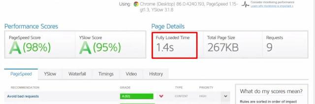 namehero website page load speed test of basic wordpress website using gt metrix