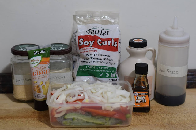 The ingredients needed to make the soy curl pepper steak recipe.