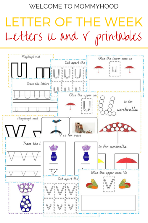 Tot Labs presents Letter of the Week: FREE Letters U & V printables by Welcome to Mommyhood, #preschoolactivities, #montessoriactivities, #montessori, #handsonlearning, #letteroftheweek, #lotw, #freeprintables