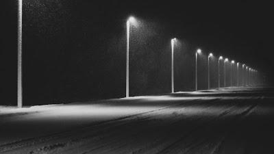 Road, Lights, Night, Snow, Dark