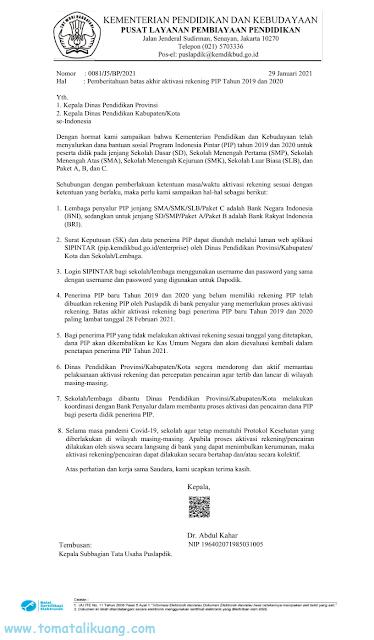 surat edaran pemberitahuan batas akhir aktivasi rekening penerima program indonesia pintar (pip) baru tahun 2019 dan 2020 pdf tomatalikuang.com