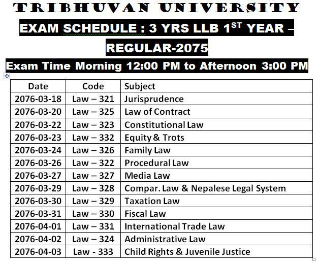 llb exam 2076 routine