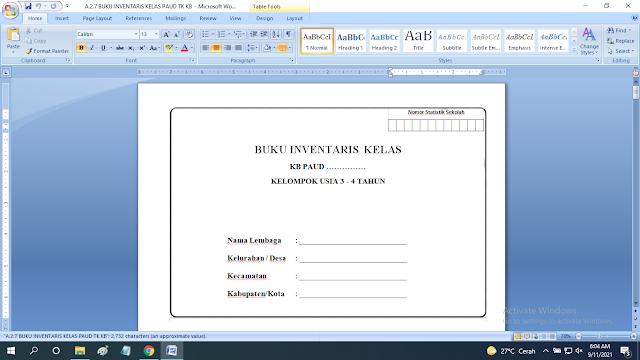 Download Contoh Buku Inventaris Kelas Paud TK KB RA TPA SPS