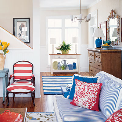 Classice Red White and Blue Living Room
