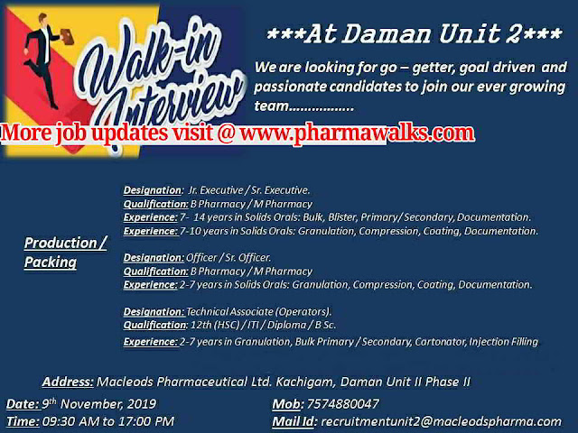 Macleods Pharma - Walk-in interview for Multiple positions on 9th November, 2019 @ Daman