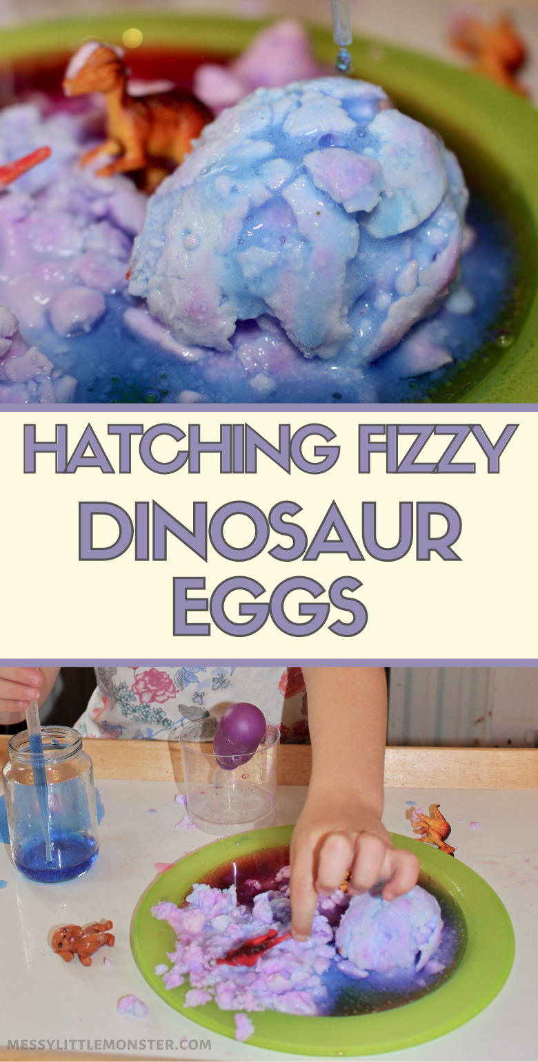 Hatching fizzy dinosaur eggs science experiment for kids. Kids will love the baking soda and vinegar reaction.