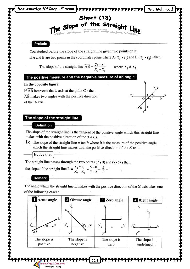 مذكرة math للصف الثالث الاعدادي لغات الترم الاول لعام 2021