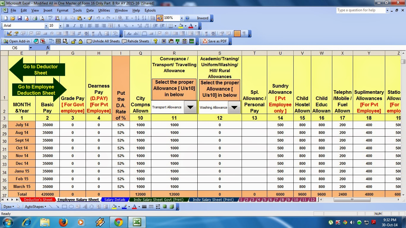 Salary Sheet Formula In Excel